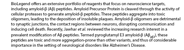 BioLegend offers an extensive portfolio of reagents that focus on neuroscience targets, including amyloid--β (Aβ) peptides. Amyloid Precursor Protein is cleaved through the activity of cellular proteases to generate amyloid--β peptides. These peptides aggregate into toxic oligomers, leading to the deposition of insoluble plaques. Amyloid-β oligomers are detrimental to synaptic junctions, the contact regions between neurons, disrupting communication and inducing cell death. Recently, Jawhar et al. reviewed the increasing research interest in a prevalent modification of Aβ peptides. Termed pyroglutamyl E3 amyloid--β (AβpE3), these peptides are toxic and more aggregation-prone than other variants, and thus of considerable importance in the setting of neurological disorders like Alzheimer's Disease.